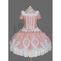 New Short Puff Sleeves Square Collar Bowknot Cotton Pink and White Sweet Lolita Dress [TQL120507004] - £50.59 :