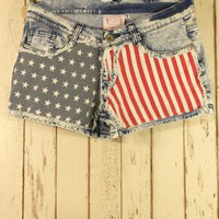 Blue Shorts - American Flag Washed Denim Shorts | UsTrendy