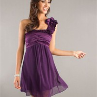 Flowing One Shoulder with Ruffles Twisted Bodice Knee Length Homecoming Dress PD1896