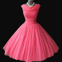 1950's Pink Chiffon Prom dress | Flickr - Photo Sharing!
