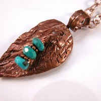 Sculpted Copper Leaf  and turquoise necklace by cserpent on Etsy