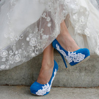 $69.00 Turquoise Wedding Heel With Venise Lace Applique by walkinonair