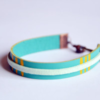Leather and suede Cuff Teal leather with by RedRhinoProductions