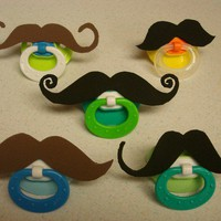Mustache Pacifier NEW COLORS by zieak on Etsy