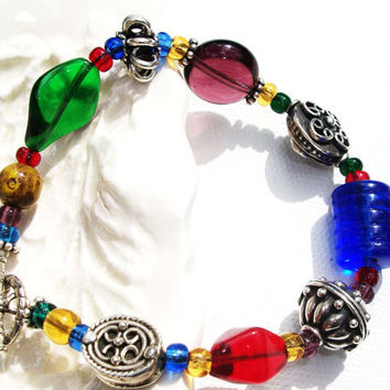 Bracelet Sterling Bali Czech Beads Boho Chic by daisybethdesigns