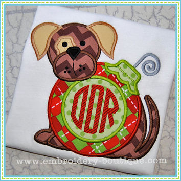 Puppy Christmas Ornament Monogrammed Customized Embroidered shirt for Infants & Toddlers