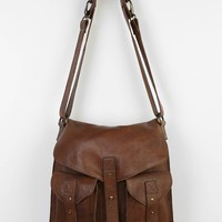 BDG Leather Tab-Strap Messenger Bag- Brown One Size- Brown One