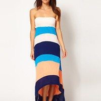 River Island | River Island Bandeau Color Block Maxi Dress With Hi-Lo Hem at ASOS