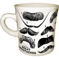 Great Mustaches Mug - 14 Mustaches including Mark Twain, Lao Tzu, Leon Trotsky, and Groucho Marx