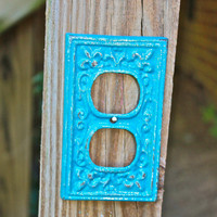 "Turquoise Decorative ""FLEUR DE LIS"" Outlet Cover by AquaXpressions"