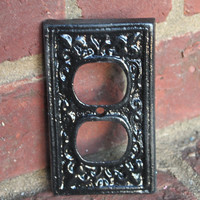 "Black Decorative ""FLEUR DE LIS"" Outlet Cover by AquaXpressions"