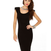 Cute Midi Dress - Black Dress - Little Black Dress - $37.50