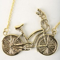 'Vintage Bike' Fine Brass Necklace | Indie Clothes & Accessories