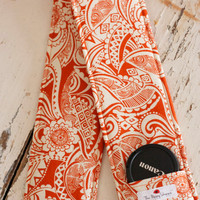 DSLR Camera Strap Cover with Lens Cap Pocket, Orange Lace