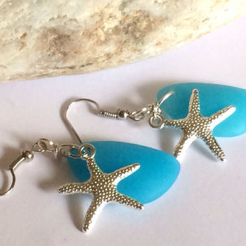 Blue Sea Glass Earrings Aquamarine Beach Jewelry Starfish Earrings Friendship Gift Gift For Women