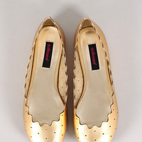 Dollhouse Unveil Metallic Perforated Scalloped Almond Toe Ballet Flat