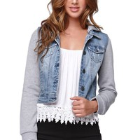 LA Hearts Tribal Trim Denim Jacket - Womens Jacket - Blue -