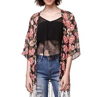 LA Hearts Fringe Edge Kimono - Womens Shirts - Black - One Size