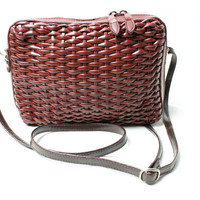 Vintage Dark Brown Woven Basketweave Crossbody Shoulder Bag