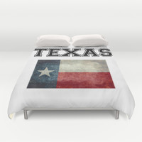 Texas flag and Text - original design by BruceStanfieldArtist Duvet Cover by LonestarDesigns2020 - Flags Designs +
