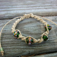 Natural Hemp Spiral Knot Adjustable Green Lampwork Bracelet or Anklet Christmas in July