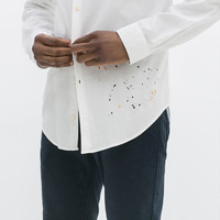 STRUCTURED SHIRT WITH PAINT STAIN