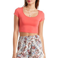 COTTON SHORT SLEEVE CROP TOP