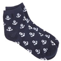 Anchor Print Ankle Socks