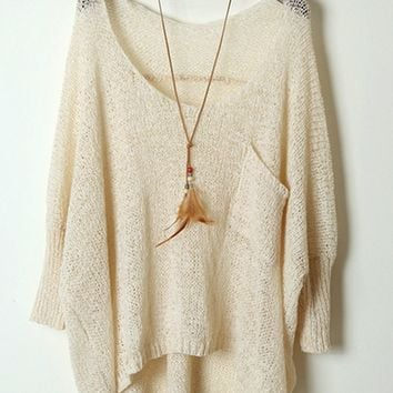 Batwing Sleeve High-Low Sweater