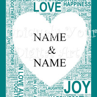 Customised Word Art with a Heart for 2 Names. Personalized Gift. Wedding, Anniversary, Housewarming, Special Occasion.,