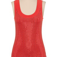 metallic stud embellished tank