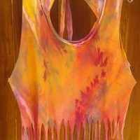 One of a kind Destroy Sunburst Tie Dye Fringe Crop Top by clrprnt