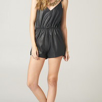 LOW BACK LEATHER DRAWSTRING ROMPER | PUBLIK | Women's Clothing & Accessories
