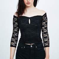 Pins & Needles Off-The-Shoulder Corset in Black - Urban Outfitters
