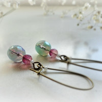 Erica Romantic long earrings Czech glass rosebud teal by GBILOBA