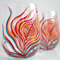Neon Peacock Feather Stemless Wine Glasses-Set of Two