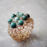 Turquoise And Gold Filled Crochet Ring | Luulla