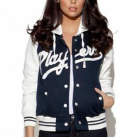 Multi Jacket - Navy Players Long Sleeve Baseball | UsTrendy