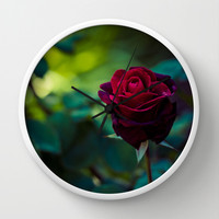 Single Red Rose Wall Clock by Light Wanderer