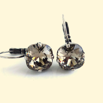 Swarovski crystal earrings, greige 10mm square lever backs, designer inspired crystal earrings, GREAT DEAL