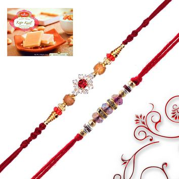 Sandlwood and Diamonds Rakhis with Sweet - Send Rakhi to Australia - Rakhi Gifts - IndianTyohar
