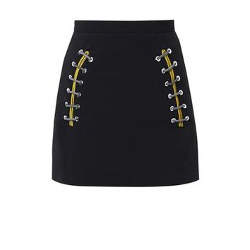 Shoe-lace-detail stretch-cady skirt