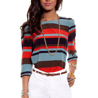 Bold Stripe Shirt in Blue Multi :: tobi
