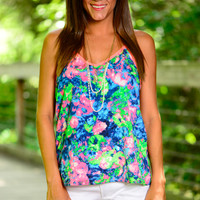 Watercolor Rave Tank, Pink/Blue