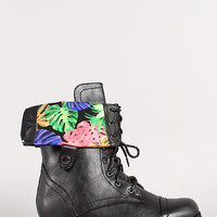Bumper Freda-45AC Tropical Cuff Military Lace Up Boot