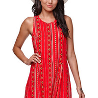Kendall & Kylie Fit & Flare Lace Up Back Dress - Womens Dress - Multi -