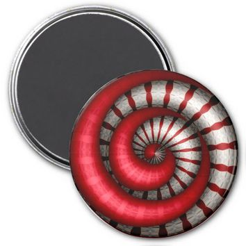 Spinning Red-White Art Refrigerator Magnet
