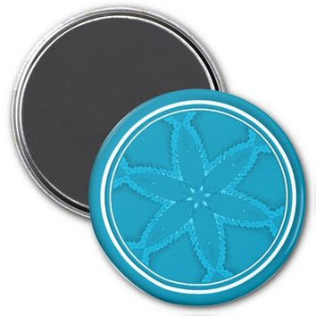 Flower Button Blue 3 Refrigerator Magnet