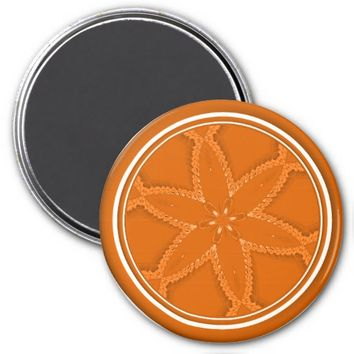 Flower Button Orange 3 Refrigerator Magnet