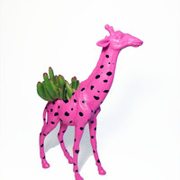 Up-cycled Pink Giraffe Planter